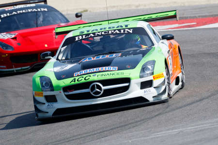 sports club: Misano Adriatico, Italy - April 10, 2016: Mercedes SLS GT3of JPB Racing Team, driven by Jean Paul Buffin,  the Blancpain GT Sports Club Main Race in Misano World Circuit.