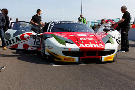 asp: Misano Adriatico, Italy - April 10, 2016: Ferrari 458 Italia GTE of AKKA ASP Team, driven by Anthony Pons,  the Blancpain GT Sports Club Main Race in Misano World Circuit. Editorial