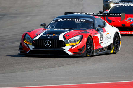 gt3: Misano Adriatico, Italy - April 10, 2016: Mercedes -AMG GT3 of AKKA ASP Team, driven by Maurice RicciI,  the Blancpain GT Sports Club Main Race in Misano World Circuit.