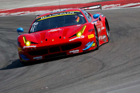 gt: Misano Adriatico, Italy - April 10, 2016: Ferrari 458 Italia GTE of AF Corse Team, driven by Pierguiseppe Perazzini,  the Blancpain GT Sports Club Main Race in Misano World Circuit.