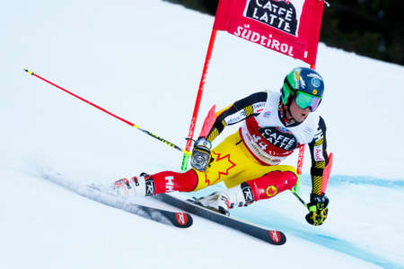 premier: Alta Badia, Italy 20 December 2015.  PHILP Trevor (Can) competing in the Audi Fis Alpine Skiing World Cup Men's Giant Slalom on the Gran Risa Course in the dolomite mountain range. Editorial