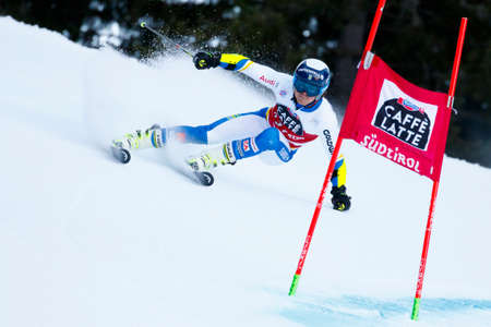 slalom: Alta Badia, Italy 20 December 2015.  ROENNGREN Mattias (Swe) competing in the Audi Fis Alpine Skiing World Cup Men's Giant Slalom on the Gran Risa Course in the dolomite mountain range.