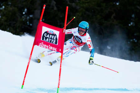 premier: Alta Badia, Italy 20 December 2015.  GATEAU Elie (Fra) competing in the Audi Fis Alpine Skiing World Cup Men's Giant Slalom on the Gran Risa Course in the dolomite mountain range. Editorial