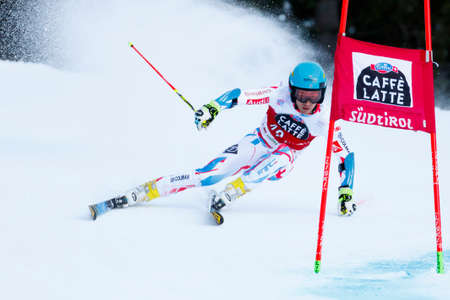 gateau: Alta Badia, Italy 20 December 2015.  GATEAU Elie (Fra) competing in the Audi Fis Alpine Skiing World Cup Men's Giant Slalom on the Gran Risa Course in the dolomite mountain range. Editorial