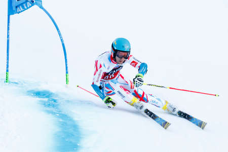 gateau: Alta Badia, Italy 20 December 2015.  GATEAU Elie (Fra) competing in the Audi Fis Alpine Skiing World Cup Men's Giant Slalom on the Gran Risa Course in the dolomite mountain range.