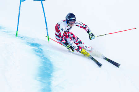 20 s: Alta Badia, Italy 20 December 2015.  BRENNSTEINER Stefan (Aut) competing in the Audi Fis Alpine Skiing World Cup Men's Giant Slalom on the Gran Risa Course in the dolomite mountain range.