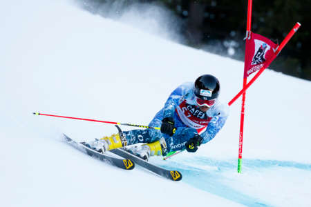 20 s: Alta Badia, Italy 20 December 2015.  ISHII Tomoya (Jpn) competing in the Audi Fis Alpine Skiing World Cup Men's Giant Slalom on the Gran Risa Course in the dolomite mountain range.