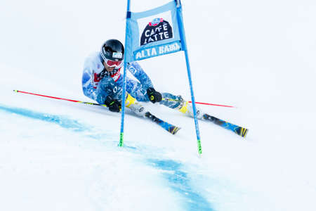 20 s: Alta Badia, Italy 20 December 2015.  ISHII Tomoya (Jpn) competing in the Audi Fis Alpine Skiing World Cup Men's Giant Slalom on the Gran Risa Course in the dolomite mountain range. Editorial