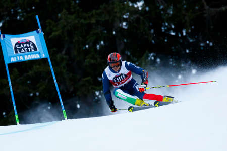 slalom: Alta Badia, Italy 20 December 2015.  BALLERIN Andrea (Ita) competing in the Audi Fis Alpine Skiing World Cup Men's Giant Slalom on the Gran Risa Course in the dolomite mountain range.