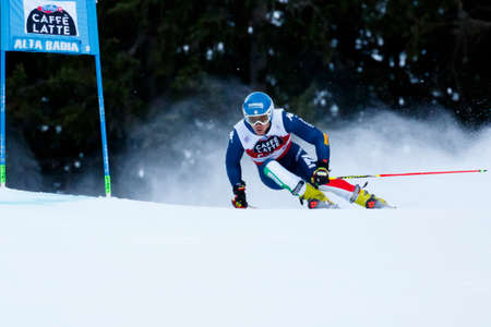 fis: Alta Badia, Italy 20 December 2015.  ZINGERLE Alex (Ita) competing in the Audi Fis Alpine Skiing World Cup Men's Giant Slalom on the Gran Risa Course in the dolomite mountain range.