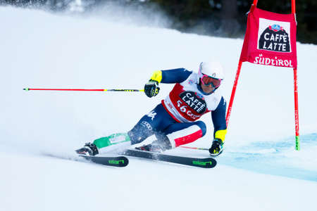 slalom: Alta Badia, Italy 20 December 2015.  BLARDONE Massimiliano (Ita) competing in the Audi Fis Alpine Skiing World Cup Men's Giant Slalom on the Gran Risa Course in the dolomite mountain range.