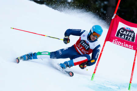 20 s: Alta Badia, Italy 20 December 2015.  SORIO Daniele (Ita) competing in the Audi Fis Alpine Skiing World Cup Men's Giant Slalom on the Gran Risa Course in the dolomite mountain range.