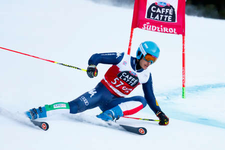 premier: Alta Badia, Italy 20 December 2015.  SORIO Daniele (Ita) competing in the Audi Fis Alpine Skiing World Cup Men's Giant Slalom on the Gran Risa Course in the dolomite mountain range. Editorial