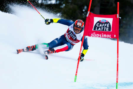 slalom: Alta Badia, Italy 20 December 2015. MAURBERGER Simon (Ita) competing in the Audi Fis Alpine Skiing World Cup Men's Giant Slalom on the Gran Risa Course in the dolomite mountain range.