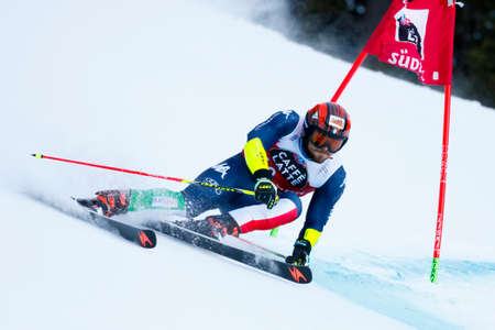 20 s: Alta Badia, Italy 20 December 2015. MAURBERGER Simon (Ita) competing in the Audi Fis Alpine Skiing World Cup Men's Giant Slalom on the Gran Risa Course in the dolomite mountain range.