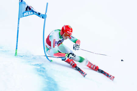 fis: Alta Badia, Italy 20 December 2015. KOSI Klemen (Slo) competing in the Audi Fis Alpine Skiing World Cup Men's Giant Slalom on the Gran Risa Course in the dolomite mountain range.
