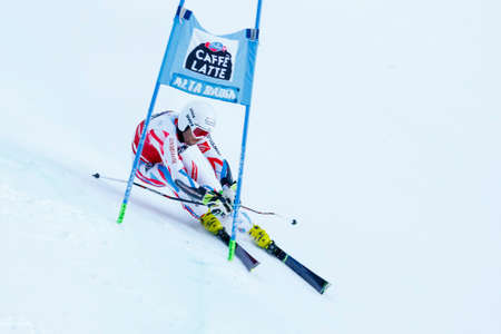 20 s: Alta Badia, Italy 20 December 2015.  FANARA Thomas (Fra) competing in the Audi Fis Alpine Skiing World Cup Men's Giant Slalom on the Gran Risa Course in the dolomite mountain range. Editorial
