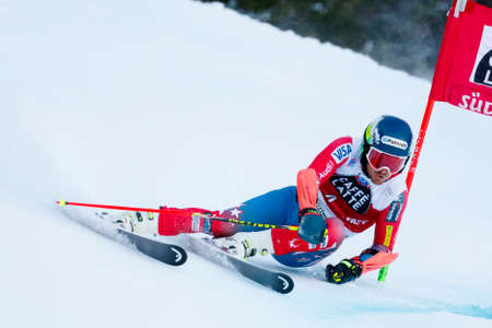 Alta Badia, Italy 20 December 2015.  LIGETY Ted (Usa) competing in the Audi Fis Alpine Skiing World Cup Men's Giant Slalom on the Gran Risa Course in the dolomite mountain range.