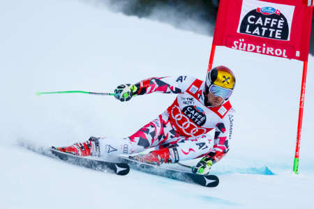 20 s: Alta Badia, Italy 20 December 2015.  HIRSCHER Marcel (Aut) competing in the Audi Fis Alpine Skiing World Cup Men's Giant Slalom on the Gran Risa Course in the dolomite mountain range.