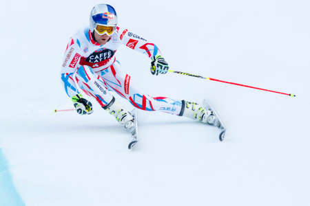 20 s: Alta Badia, Italy 20 December 2015.  PINTURAULT Alexis (Fra) competing in the Audi Fis Alpine Skiing World Cup Men's Giant Slalom on the Gran Risa Course in the dolomite mountain range.