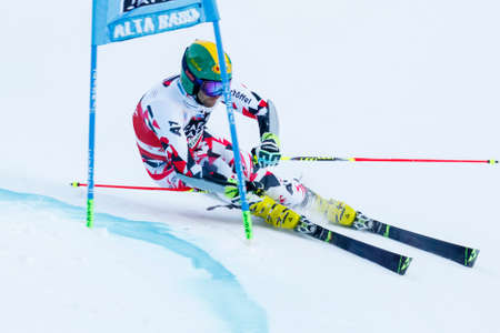 premier: Alta Badia, Italy 20 December 2015.  SCHOERGHOFER Philipp (Aut) competing in the Audi Fis Alpine Skiing World Cup Men's Giant Slalom on the Gran Risa Course in the dolomite mountain range.