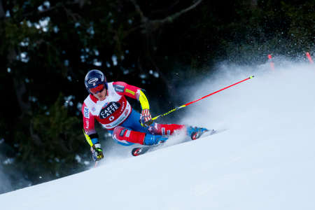 20 s: Alta Badia, Italy 20 December 2015.  JITLOFF Tim (Usa) competing in the Audi Fis Alpine Skiing World Cup Men's Giant Slalom on the Gran Risa Course in the dolomite mountain range.