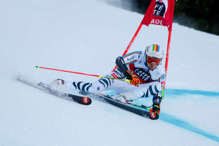 20 s: Alta Badia, Italy 20 December 2015.  LUITZ Stefan (Ger) competing in the Audi Fis Alpine Skiing World Cup Men's Giant Slalom on the Gran Risa Course in the dolomite mountain range. Editorial