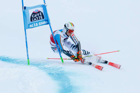 Alta Badia, Italy 20 December 2015.  LUITZ Stefan (Ger) competing in the Audi Fis Alpine Skiing World Cup Men's Giant Slalom on the Gran Risa Course in the dolomite mountain range. Editorial