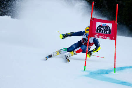 20 s: Alta Badia, Italy 20 December 2015.  DE ALIPRANDINI Luca (Ita) competing in the Audi Fis Alpine Skiing World Cup Men's Giant Slalom on the Gran Risa Course in the dolomite mountain range.
