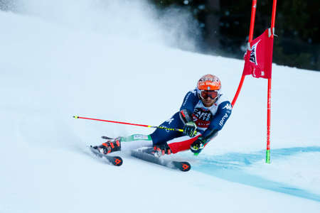 premier: Alta Badia, Italy 20 December 2015.  TONETTI Riccardo (Ita) competing in the Audi Fis Alpine Skiing World Cup Men's Giant Slalom on the Gran Risa Course in the dolomite mountain range. Editorial