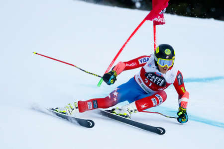 Alta Badia, Italy 20 December 2015. FORD Tommy (Usa) competing in the Audi Fis Alpine Skiing World Cup Men's Giant Slalom on the Gran Risa Course in the dolomite mountain range. Redakční