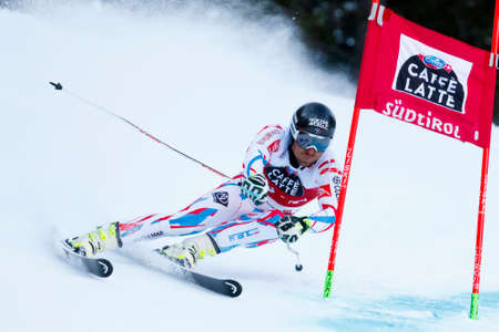 slalom: Alta Badia, Italy 20 December 2015.  RICHARD Cyprien (Fra) competing in the Audi Fis Alpine Skiing World Cup Men's Giant Slalom on the Gran Risa Course in the dolomite mountain range.