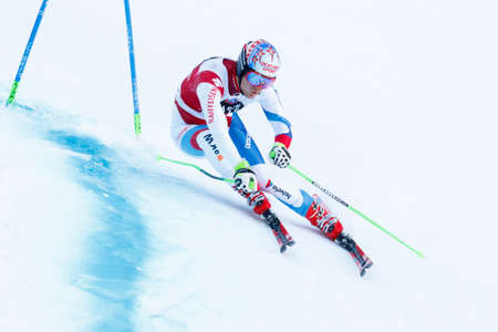 premier: Alta Badia, Italy 20 December 2015.  TUMLER Thomas (Sui) competing in the Audi Fis Alpine Skiing World Cup Men's Giant Slalom on the Gran Risa Course in the dolomite mountain range.