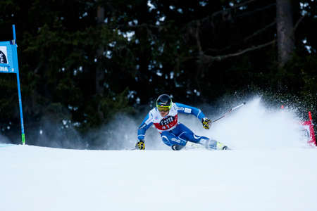 slalom: Alta Badia, Italy 20 December 2015.  NETELAND Bjoernar (Nor) competing in the Audi Fis Alpine Skiing World Cup Men's Giant Slalom on the Gran Risa Course in the dolomite mountain range.