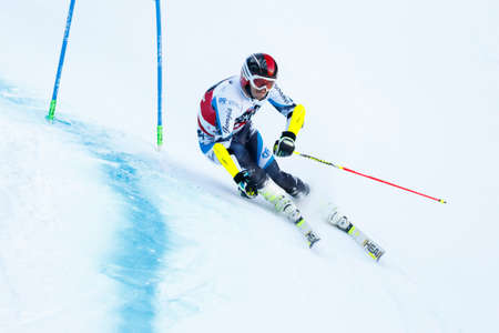 20 s: Alta Badia, Italy 20 December 2015. BENIAIDZE Alex (Geo) competing in the Audi Fis Alpine Skiing World Cup Men's Giant Slalom on the Gran Risa Course in the dolomite mountain range. Editorial