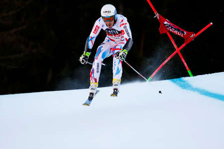 slalom: Alta Badia, Italy 20 December 2015.  MUFFAT-JEANDET Victor (Fra) competing in the Audi Fis Alpine Skiing World Cup Men's Giant Slalom on the Gran Risa Course in the dolomite mountain range.