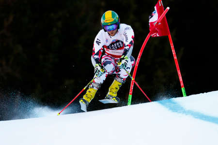 fis: Alta Badia, Italy 20 December 2015.  SCHOERGHOFER Philipp (Aut) competing in the Audi Fis Alpine Skiing World Cup Men's Giant Slalom on the Gran Risa Course in the dolomite mountain range.