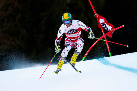 20 s: Alta Badia, Italy 20 December 2015.  SCHOERGHOFER Philipp (Aut) competing in the Audi Fis Alpine Skiing World Cup Men's Giant Slalom on the Gran Risa Course in the dolomite mountain range.