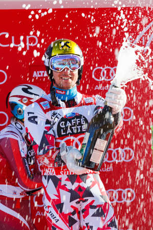 slalom: Alta Badia, Italy 20 December 2015: HIRSCHER Marcel (Aut) takes 1st place during the Audi Fis Alpine Skiing World Cup Men's Giant Slalom Race