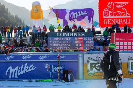 20 s: Alta Badia, Italy 20 December 2015. HIRSCHER Marcel (Aut) winner, 2nd KRISTOFFERSEN Henrik (Nor) and MUFFAT-JEANDET Victor (Fra) 3rd in the mens Audi Fis Alpine Skiing World Cup Men's Giant Slalom race. Editorial