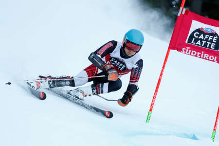 20 s: Alta Badia, Italy 20 December 2015.  Samuel Moling (Ita) Forerunners in the Audi Fis Alpine Skiing World Cup Men's Giant Slalom on the Gran Risa Course in the dolomite mountain range. Editorial