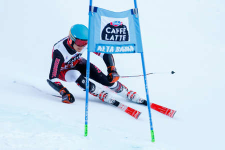 samuel: Alta Badia, Italy 20 December 2015.  Samuel Moling (Ita) Forerunners in the Audi Fis Alpine Skiing World Cup Men's Giant Slalom on the Gran Risa Course in the dolomite mountain range. Editorial