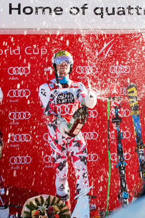 1st place: Alta Badia, Italy 20 December 2015: HIRSCHER Marcel (Aut) takes 1st place during the Audi Fis Alpine Skiing World Cup Men's Giant Slalom Race