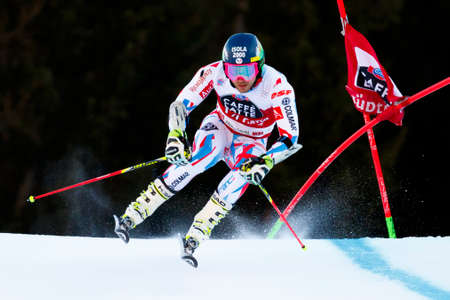 20 s: Alta Badia, Italy 20 December 2015.  FAIVRE Mathieu (Fra) competing in the Audi Fis Alpine Skiing World Cup Men's Giant Slalom on the Gran Risa Course in the dolomite mountain range. Editorial