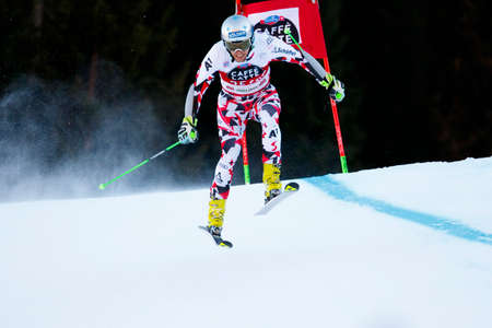20 s: Alta Badia, Italy 20 December 2015.  NOESIG Christoph (Aut) competing in the Audi Fis Alpine Skiing World Cup Men's Giant Slalom on the Gran Risa Course in the dolomite mountain range.