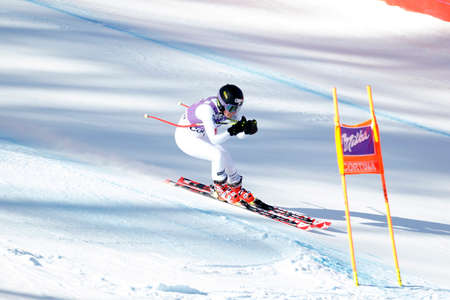 fis: Cortina d'Ampezzo, Italy 23 January 2016. JOHNSON Breezy (Usa) competing in the Audi Fis Alpine Skiing World Cup Women's downhill Race on the Olympia Course in the dolomite mountain range.