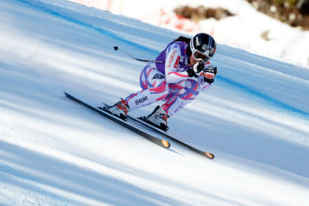 premier: Cortina d'Ampezzo, Italy 23 January 2016. GAUTHIER Tiffany (Fra) competing in the Audi Fis Alpine Skiing World Cup Women's downhill Race on the Olympia Course in the dolomite mountain range.