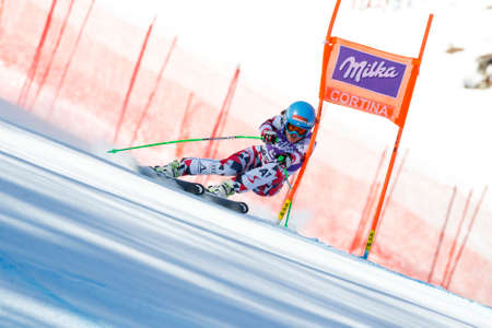 elisabeth: Cortina dAmpezzo, Italy 23 January 2016. GOERGL Elisabeth (Aut) competing in the Audi FIS Alpine Skiing World Cup women� � �,�� � s downhill race on the Olympia Course in the Dolomite mountain range.
