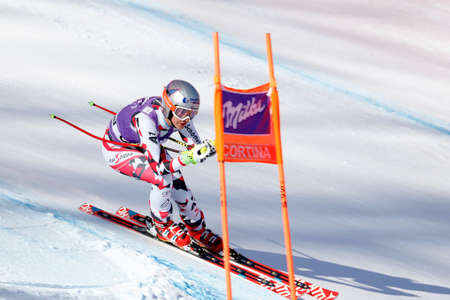 premier: Cortina d'Ampezzo, Italy 23 January 2016. VENIER Stephanie (Aut) competing in the Audi Fis Alpine Skiing World Cup Women's downhill Race on the Olympia Course in the dolomite mountain range.