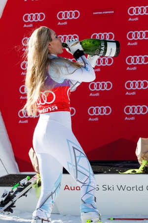 1st place: Cortina dAmpezzo, Italy 23 January 2016. VONN Lindsey (USA) takes 1st place During The Audi FIS Alpine Ski World Cup Womens Downhill Race Editorial